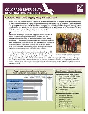 Colorado River Delta Legacy Program Evaluation