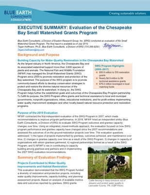 EXECUTIVE SUMMARY: Evaluation of the Chesapeake Bay Small Watershed Grants Program